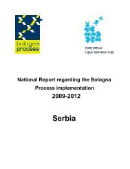 National Report Serbia. - European Higher Education Area