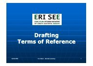 Drafting Drafting Terms of Reference - ERI SEE