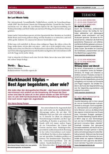 Vertriebs-Experts-Magazin, Januar 2008 - Pompe Marketing