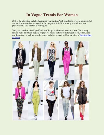 In Vogue Trends For Women