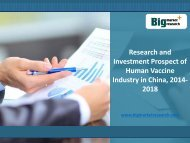 Investment Prospect of China Human Vaccine Industry, 2014-2018