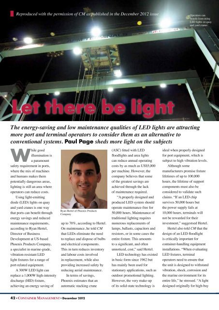 """""""Let There Be Light"""" - CM December 2012 (309KB) - Phoenix Products"""