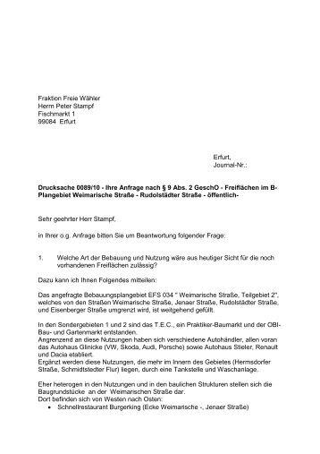 Zur Antwort - Fraktion Freie Wähler im Erfurter