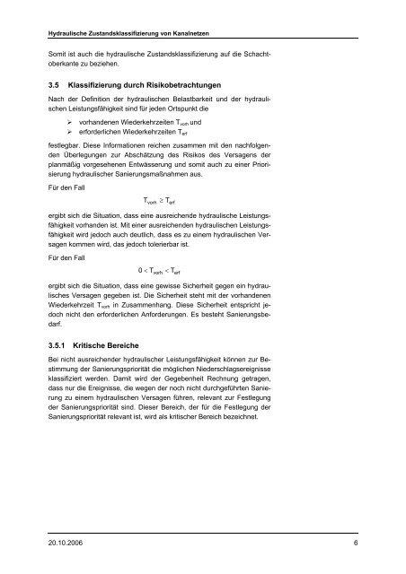 Hydraulische Zustandsklassifizierung von Kanalnetzen