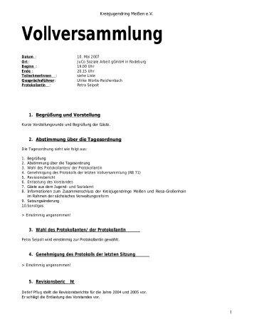 Protokoll der Vollversammlung vom 10.05.2007 - Kreisjugendring ...