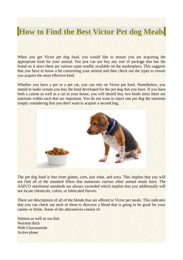 How to Find the Best Victor Pet dog Meals