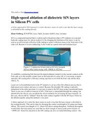 High-speed ablation of dielectric SiN layers in ... - RPMC Lasers