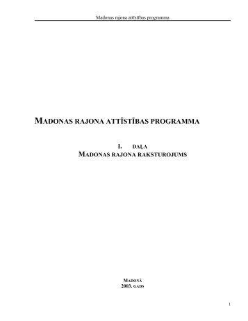 Materiâls Madonas rajona attîstîbas programmai - Madona.lv