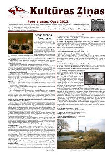 Kulturas Zinas Nr 15 - Ogres Kultūras centrs