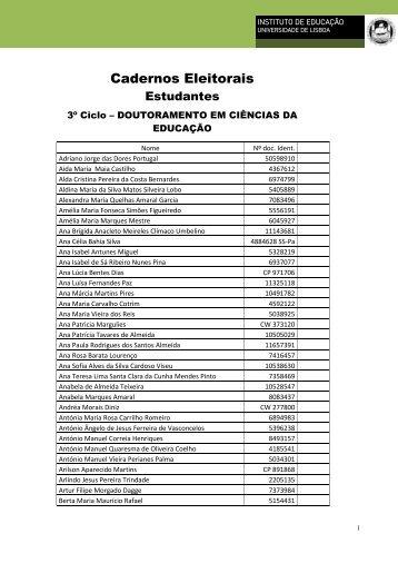 Cadernos Eleitorais - Universidade de Lisboa