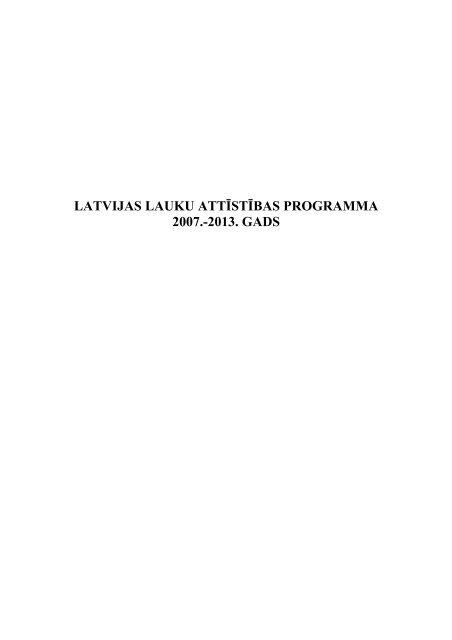 latvijas lauku attīstības programma 2007.-2013. gads - Agropols