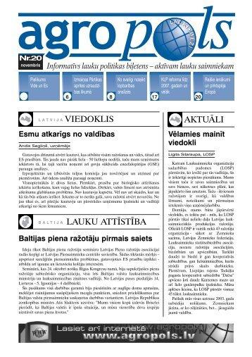 aktuāli baltija lauku attīstība - Latvijas Valsts Agrārās Ekonomikas ...