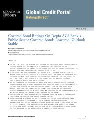 Covered Bond Ratings On Depfa ACS - Hypo Real Estate Holding AG