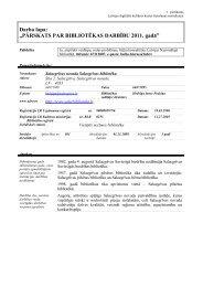 Salacgrīvas novada Salacgrīvas bibliotēkas 2011. gada statistiskie ...