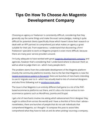 Tips On How To Choose An Magento Development Company