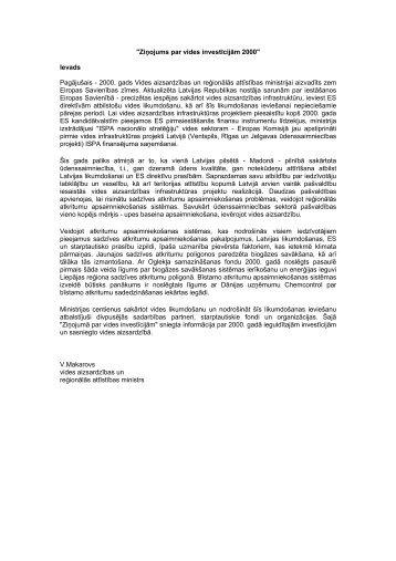 """""""Ziņojums par vides investīcijām 2000"""" - Vides ministrija"""
