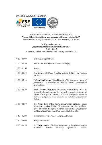 """Eiropas Sociālā fonda 1.1.1.2.aktivitātes projekta """"Kapacitātes ..."""