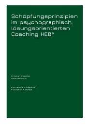 Schöpfungsprinzipien im psychographisch, lösungsorientierten Coaching HEB