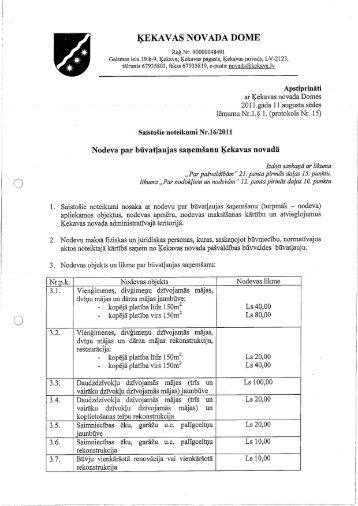 Nodeva par būvatļaujas saņemšanu Ķekavas ... - Ķekavas pagasts