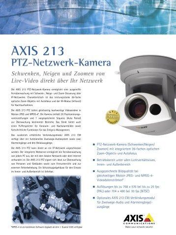 AXIS 213 Ptz-Netzwerk-Kamera Schwenken, Neigen und Zoomen ...