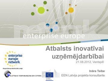 Eiropas biznesa atbalsta tīkla darbība uzņēmēju interesēs ... - VATP