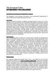 The European Union INTERNSHIP PROGRAMME
