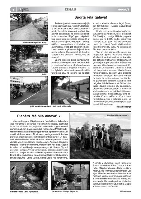 Nr. 8 (101) Augusts - Mālpils