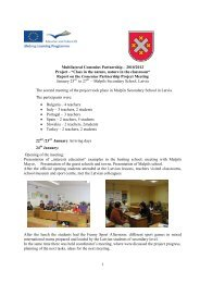 """1 Multilateral Comenius Partnership – 2010/2012 Project - """"Class in ..."""