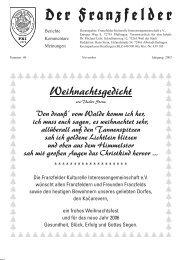 Weihnachtsgedicht - Die Franzfelder