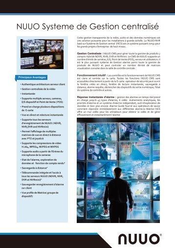 NUUO Systeme de Gestion centralisé - Nuuo.com