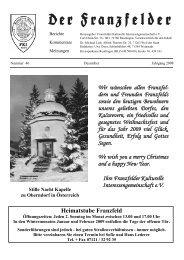 Wir wünschen allen Franzfel- dern und Freunden ... - Die Franzfelder