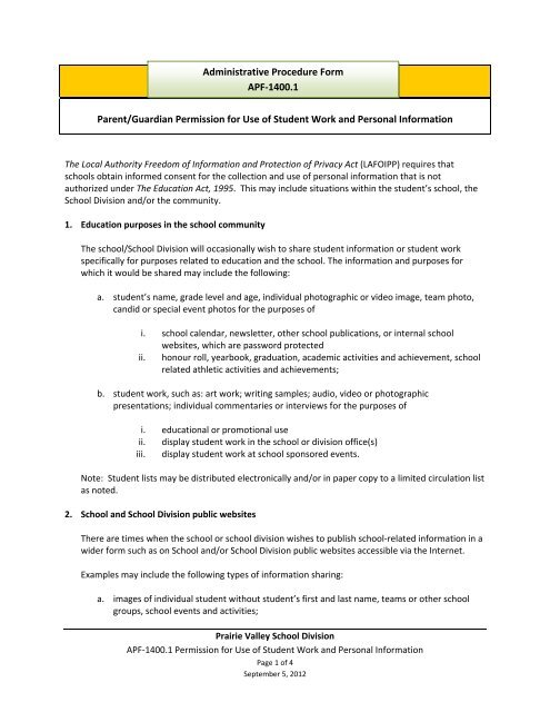 Permission for Use of Student Work and Personal Information pdf