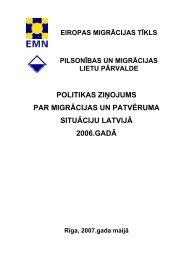 politikas ziņojums par migrācijas un patvēruma situāciju latvijā 2006 ...