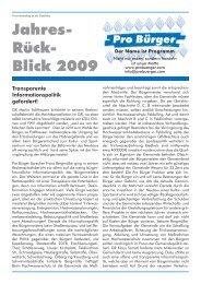 Jahres- Rück- Blick 2009 - Pro Bürger