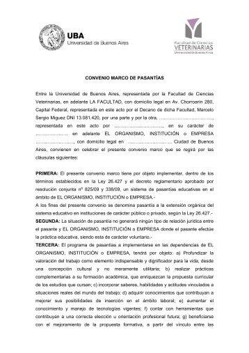 Marco de Pasantías - Facultad de Ciencias Veterinarias