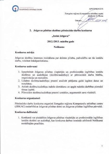 """""""Izzini Jelgavu"""" 2012.12013. mācību gads, NOLIKUMS - Jelgavas 1 ..."""