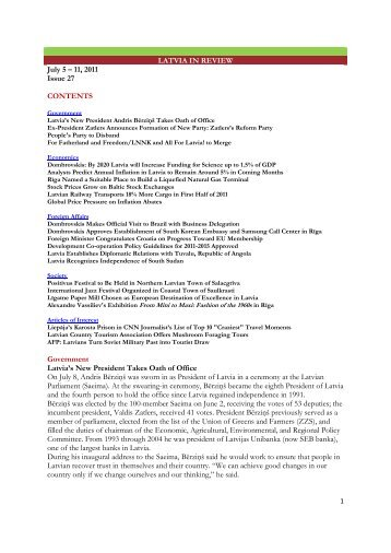 LATVIA IN REVIEW July 5 – 11, 2011 Issue 27 CONTENTS ...