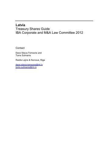 Treasury Shares Guide 2012, Latvia chapter - Raidla Lejins & Norcous