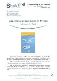Apprenez à programmer en Python Vincent Le Goff