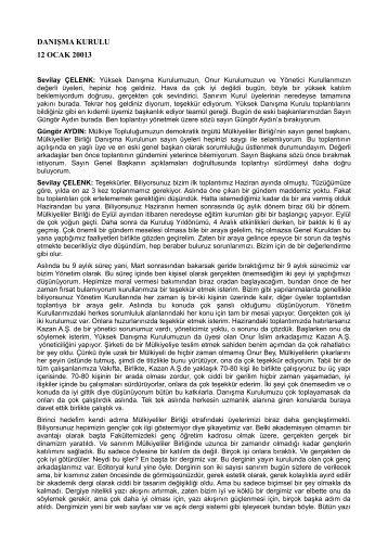 12 Ocak 2013 tarihli Danışma Kurulu Toplantısı - Mülkiyeliler Birliği