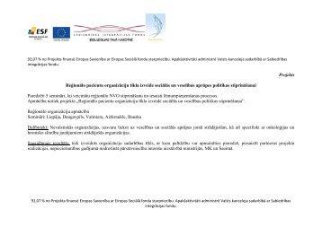Projekts Reģionālo pacientu organizāciju tīkla ... - Dzīvības koks
