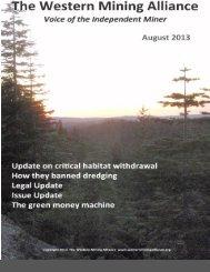 WMA August 2013 Newsletter - Western Mining Alliance