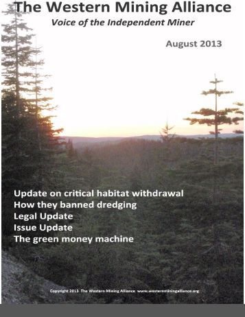 WMA August 2013 Newsletter - Western Mining Alliance
