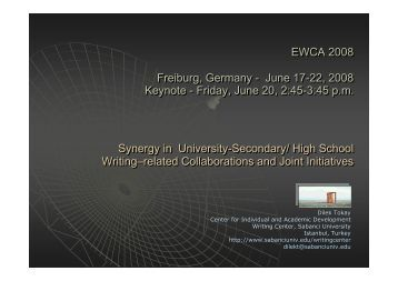 Synergy in University-Secondary School Collaborations& Joint ...