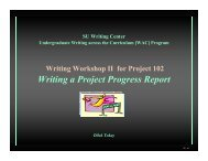 Writing the Project Progress Report - CENTER FOR INDIVIDUAL ...