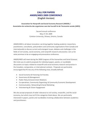 CALL FOR PAPERS ANSER/ARES 2009 CONFERENCE (English ...