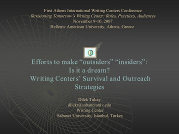 Writing Centers - CENTER FOR INDIVIDUAL and ACADEMIC ...