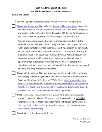 Search Committee Checklist - Academic Affairs