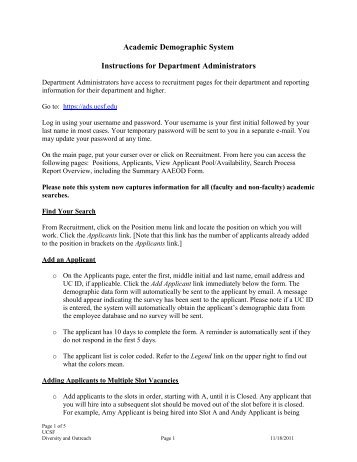Academic Demographic System Instructions - Academic Affairs