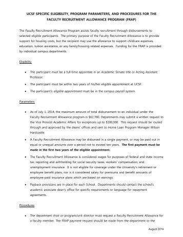 Faculty Recruitment Allowance Program - Academic Affairs